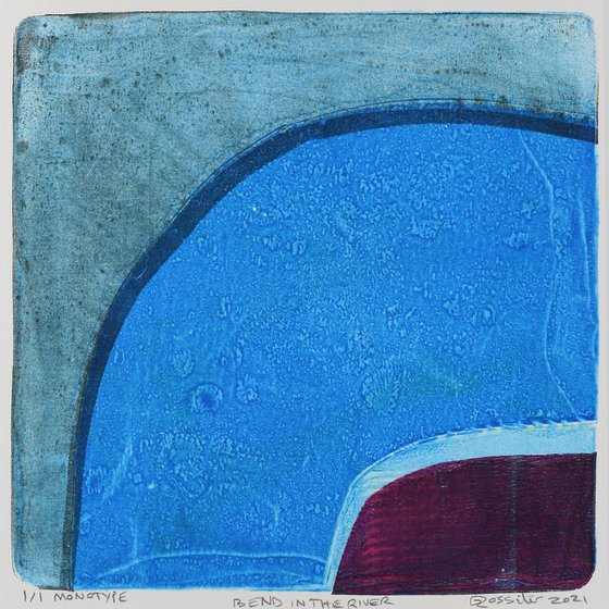 Bend in the River - Unmounted Signed Monotype