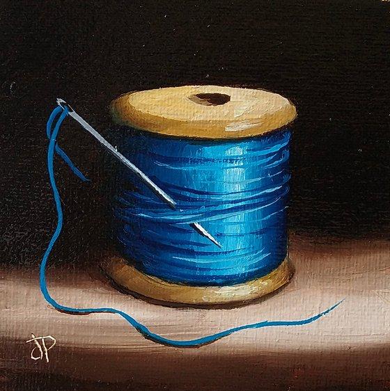 Little Blue needle and thread still life