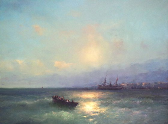 Seascape, Large size, Antique Style,  Original oil Painting, Handmade art, Museum Quality, Signed, One of a Kind