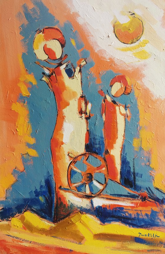 Abstract - Summer (60x40cm, oil painting, ready to hang)