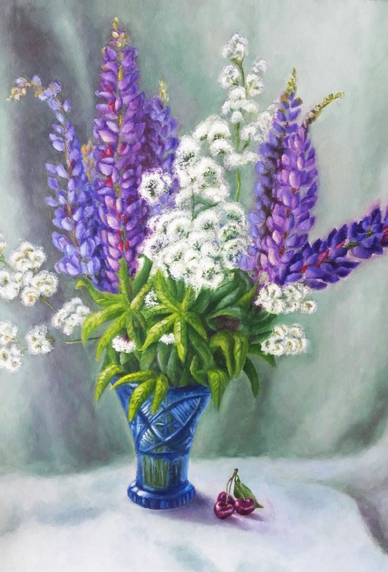 Painting | Oil | Lupines and cherries