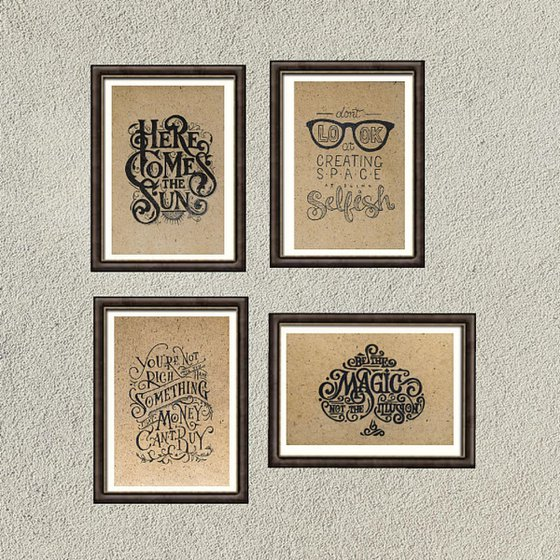 Set of 4 drawing in Lettering style 18.7 x 28.5 cm each ( 37,4 x 28.5 or 18,7 x 114 cm)
