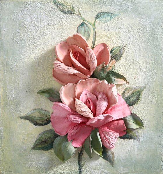 RED ROSE * Sculpture painting * Plaster * Palette knife