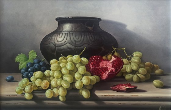 Still life with pitcher and fruits (40x60cm, oil painting, ready to hang)