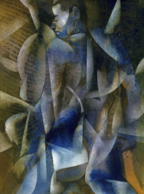 male nude abstract watercolor #2