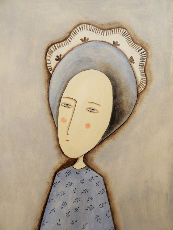 The woman with the bonnet - oil on paper