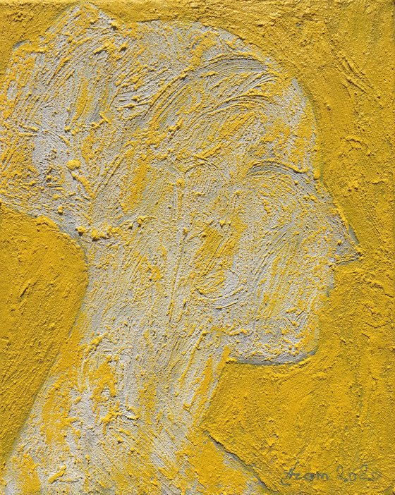 The beauty - yellow 30x24, oil on canvas on paste,
