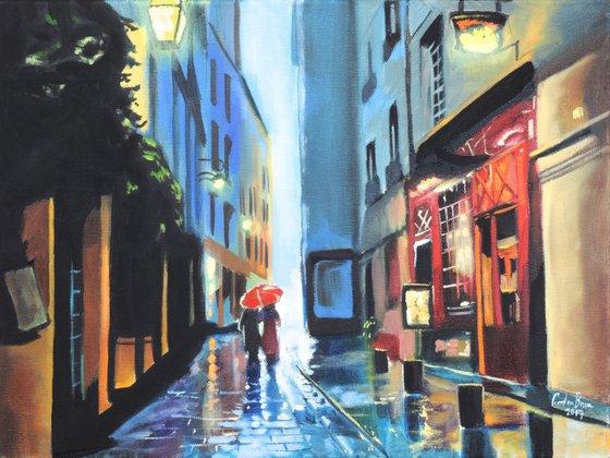 Red umbrella rainy day
