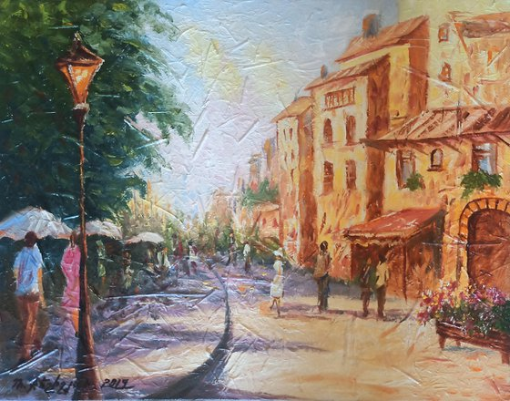 Small Cafe-2 (40x50cm, oil painting, impressionistic, ready to hang)