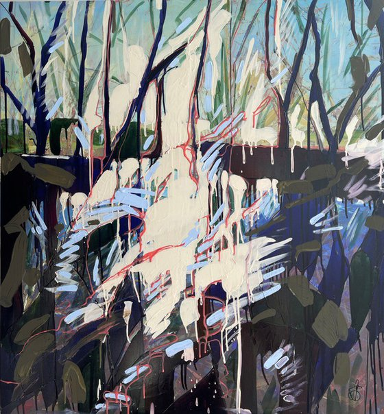 JUNGLE, LARGE ABSTRACT PAINTING, LANDSCAPE PAINTING, READY TO HANG PAINTING