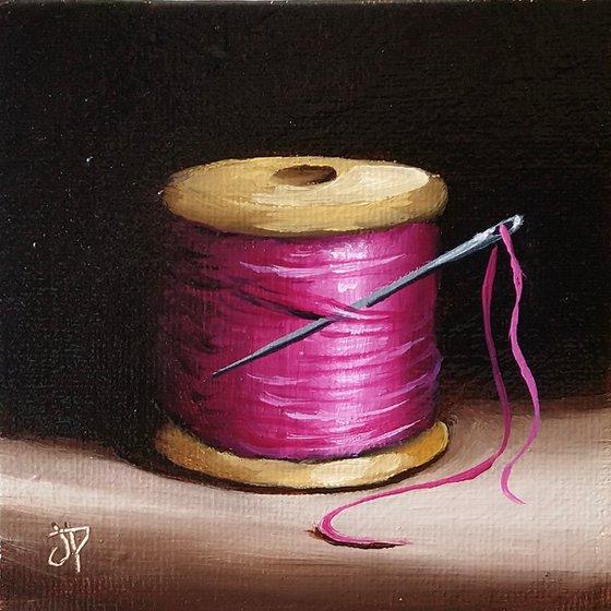 Little Pink needle and thread still life