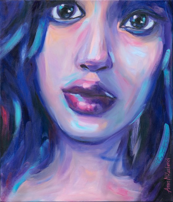 BRAVE - Contemporary woman portrait, Expressionist colorful female artwork, Modern woman power painting