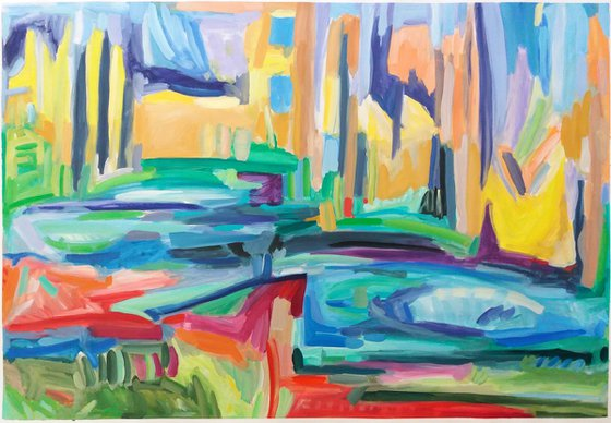 The Walls Of The City 29.1x 43 inches  | Large Abstract Landscape |