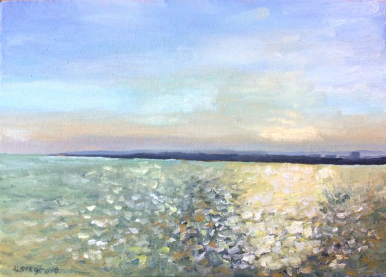 Sunlight on the sea, an original oil painting of the morning sun