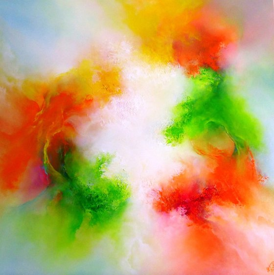 Zest for Life (Large textured original oil painting)