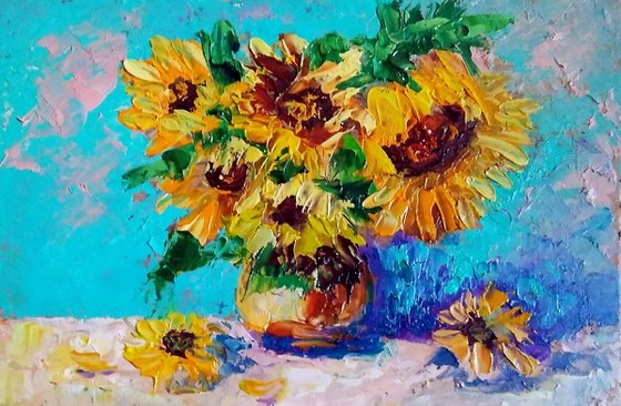 Bouquet of Sunflowers Floral Painting Original Art Small Oil Artwork Flowers Wall Art