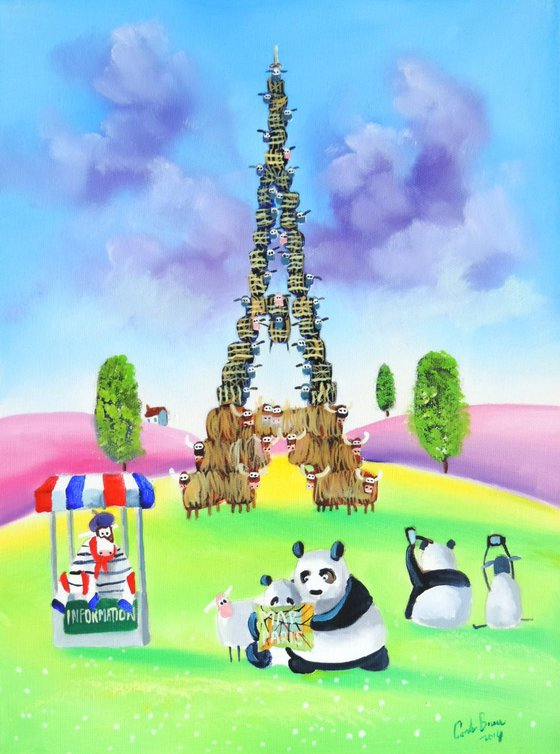 The Eiffel tower made of cows and sheep