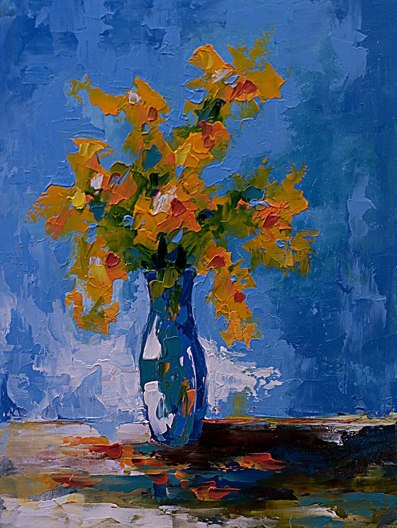 Small still life painting with flwers