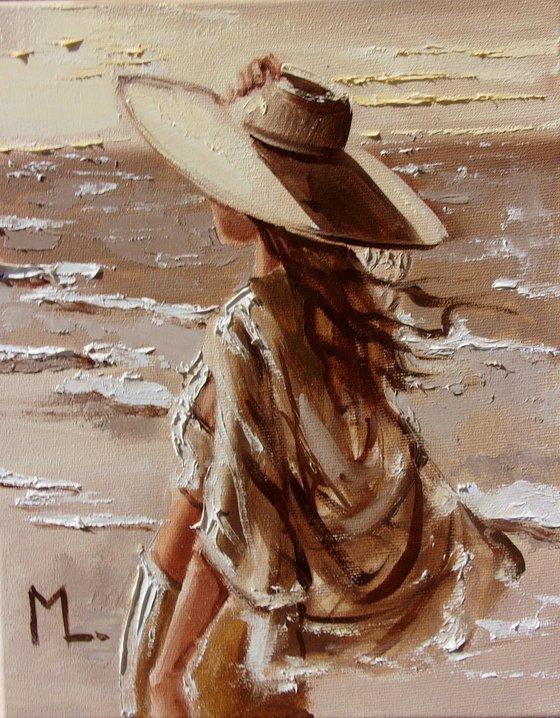 """ UNDER THE HAT "" SUN SKY SEA SAND liGHt  ORIGINAL OIL PAINTING, GIFT, PALETTE KNIFE"