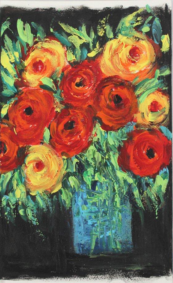 """You are amazing!"" - Floral still life artwork - palette knife and brush work - impressionistic flower vase- roses"