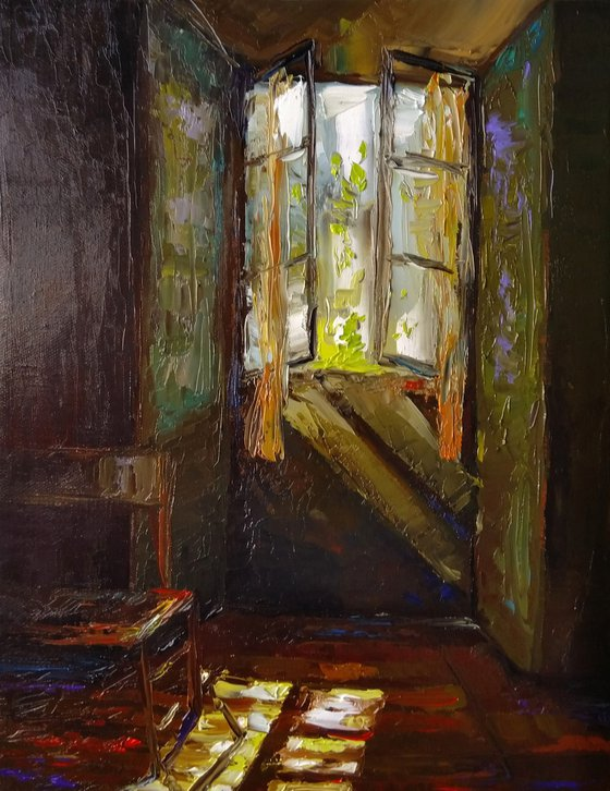 Open window(30x40cm, oil painting, impressionistic)