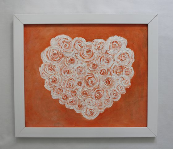 HEARTFUL OF ROSES - BE MY VALENTINE ! - ACRYLIC PAINTING ON UNSTRETCHED CANVAS AND FRAMED - READY TO HANG - GIFT