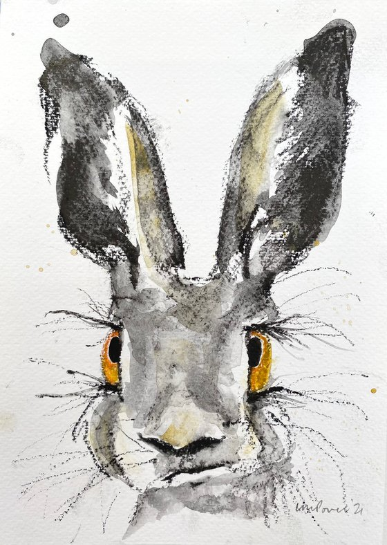 Confused Hare charcoal and Ink wash drawing on paper #06 - A5 148mm x 210mm
