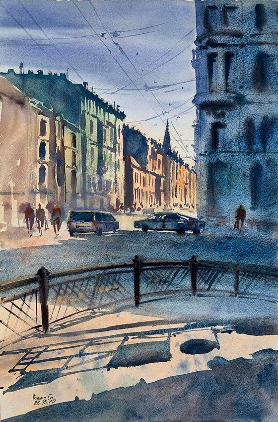 Sunlit street. St. Petersburg.
