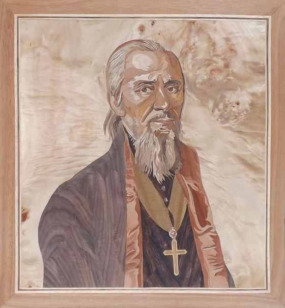 Marquetry portrait of Historical Figure - Lukijan Musicki (1777-1837)
