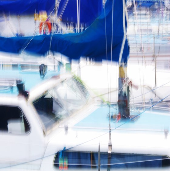 Blue Sail, impressionist abstract sailing boats