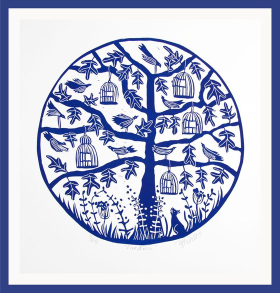 Freedom, round linocut printed in blue and white