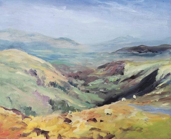 Snowdonia Mountains, North Wales, UK - en plein air oil painting