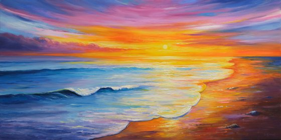Sunset Seascape II -  oil painting, Ready to hang