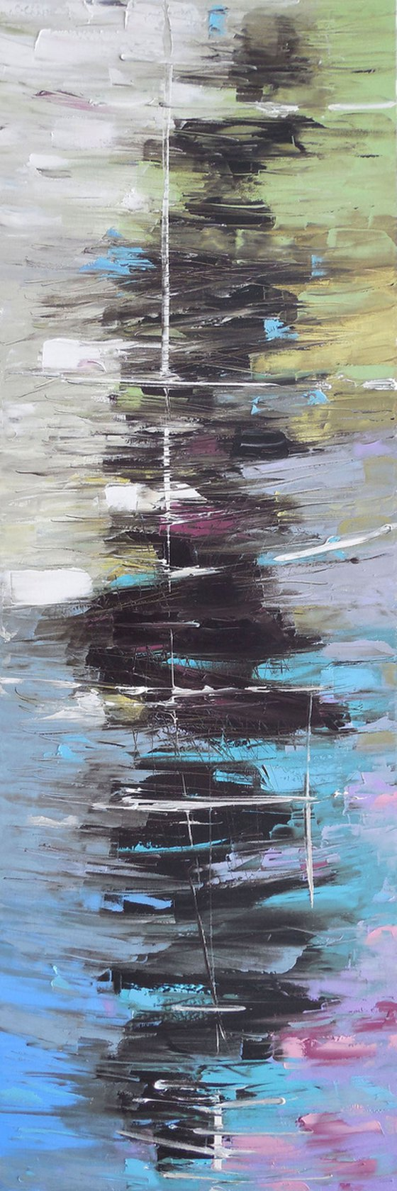 Reverberation - palette knife impasto painting abstract alla prima original artwork horizontal