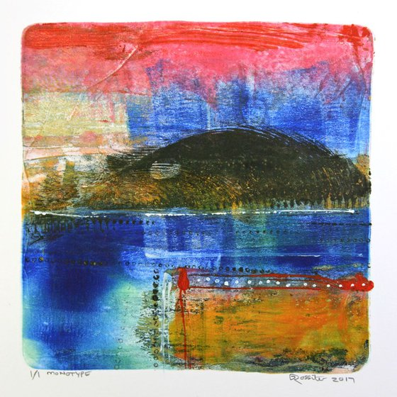 Calm Waters - Acrylic & Ink Monotype on Paper Unframed