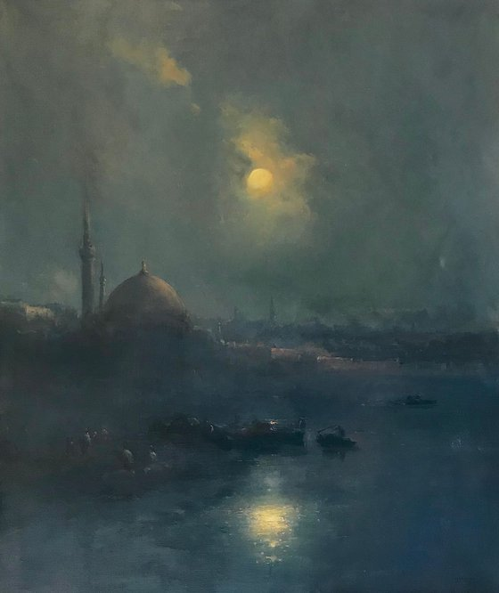 Moonlight, Seascape Original oil Painting, Handmade artwork, Museum Quality, Signed, One of a Kind
