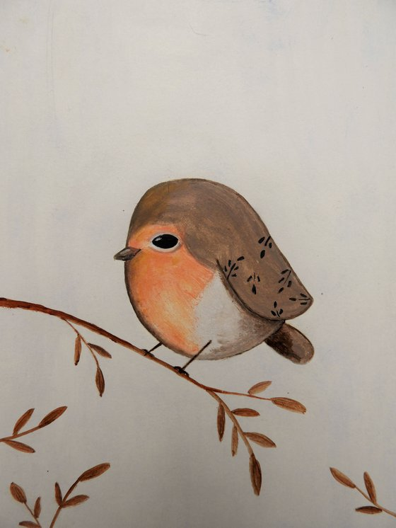 The small robin - oil on paper
