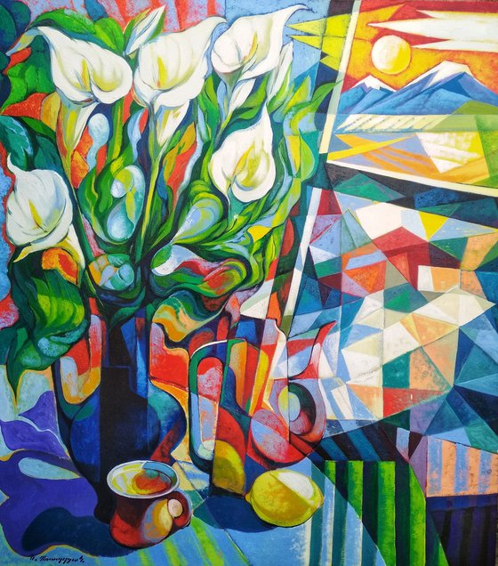 Still life with callas(80x90cm, cubism, oil painting, ready to hang)