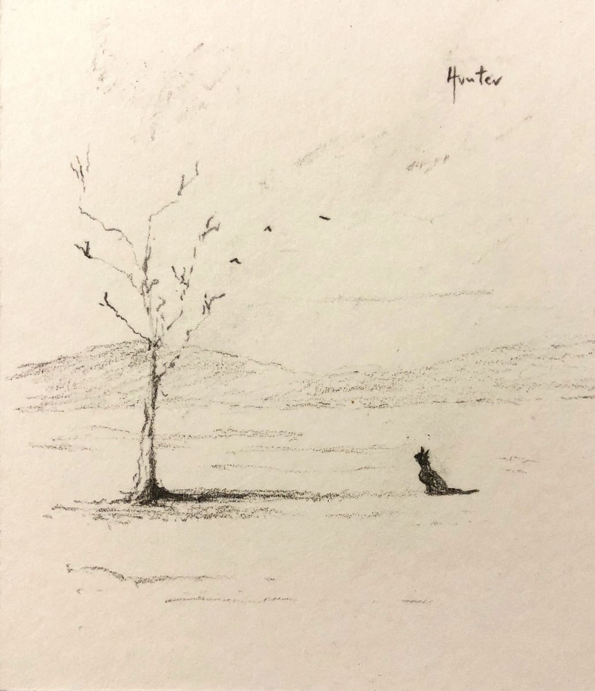 The cat the birds the lonely tree 2018 pencil drawing