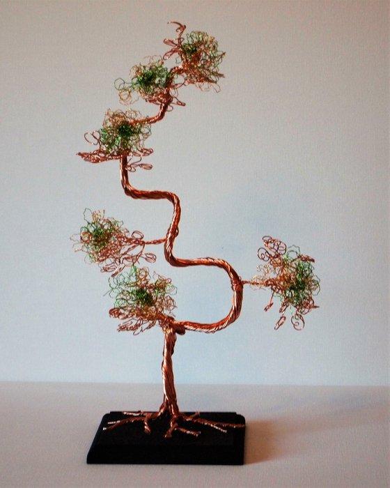 Copper & Green Wire, Bonsai Tree Sculpture