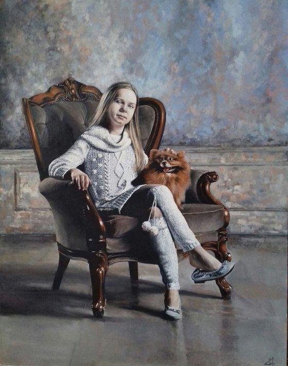 Портрет девушка с собакой