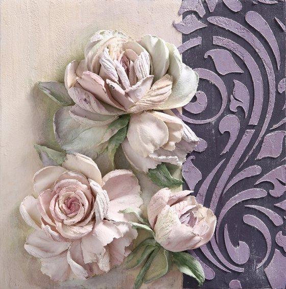 PINK ROSES * Sculpture painting * Plaster * Palette knife * Original painting