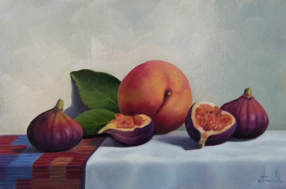 Still life with fig-3 (20x30cm, oil painting, ready to hang)