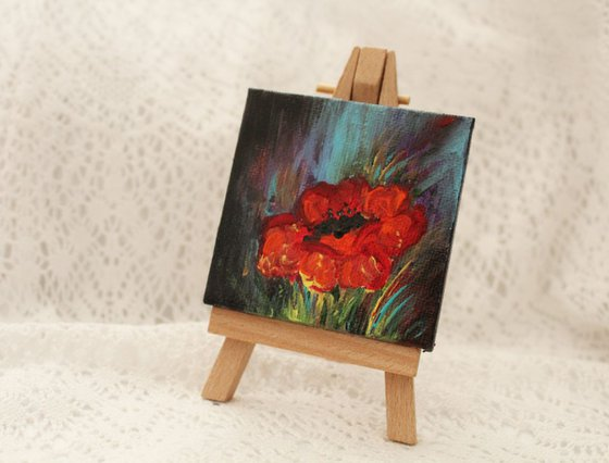 Mini Poppy with Mini Easel - Floral Acrylic Painting - gift art