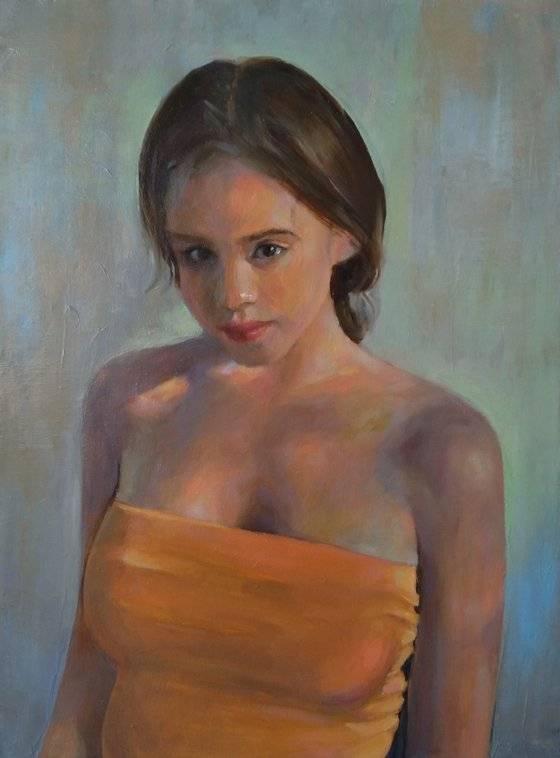 Young girl 33x44cm ,oil/canvas, impressionistic figure
