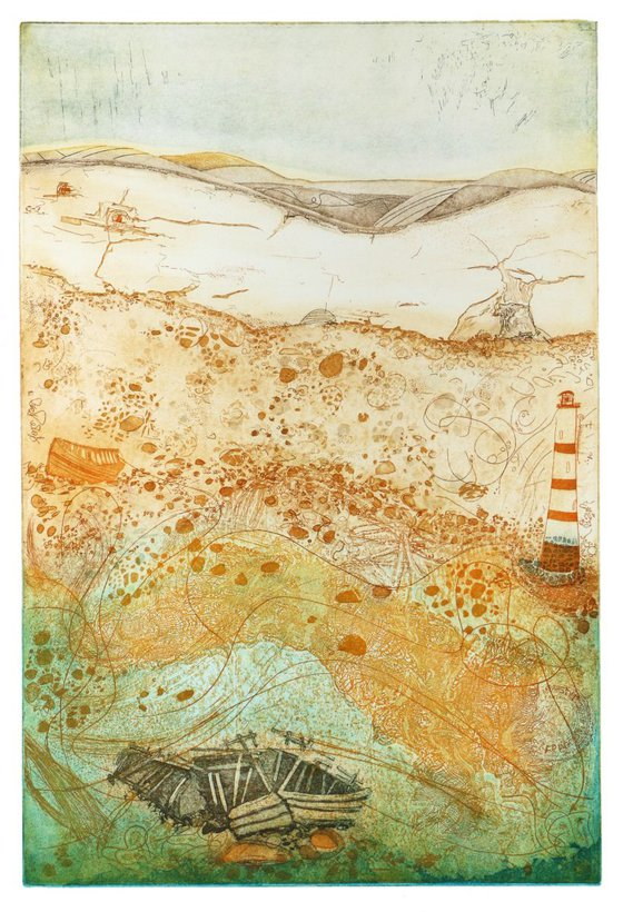 """Heike Roesel """"Guiding Light"""" fine art etching, edition of 15 in variation"""