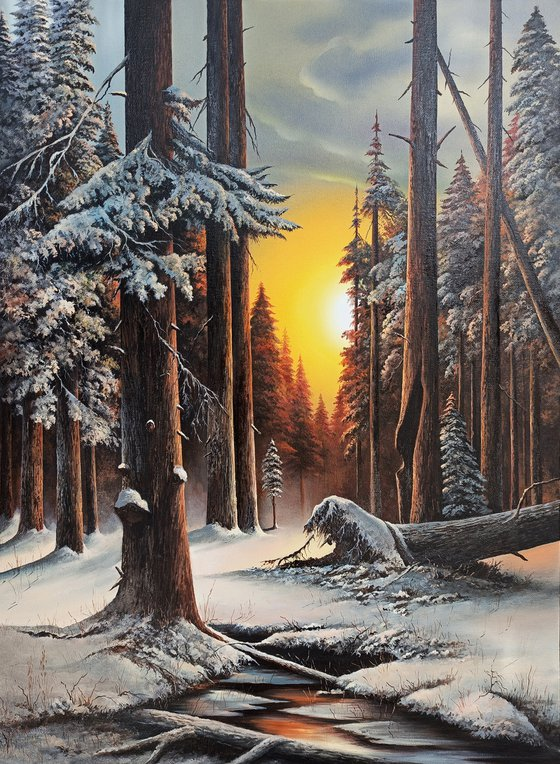 Winter in a forest  (60x80cm, oil painting, ready to hang)