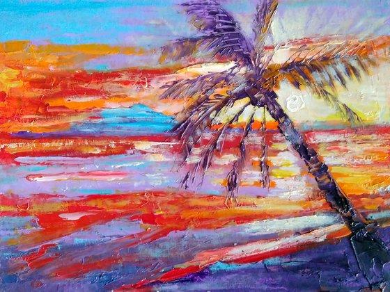 Hawaii Painting Palm Tree Original Art Seascape Impasto Oil Painting Boat Small Artwork