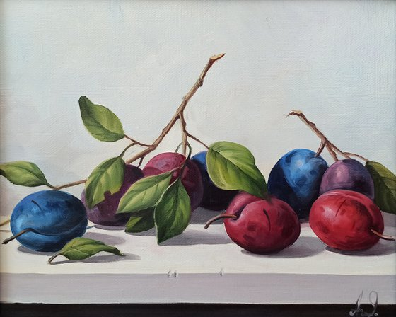 Still life with plums-2 (24x30cm, oil painting, ready to hang)