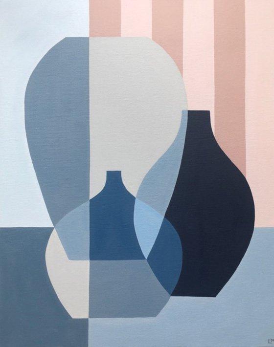 Blue Vases with Blush Stripes